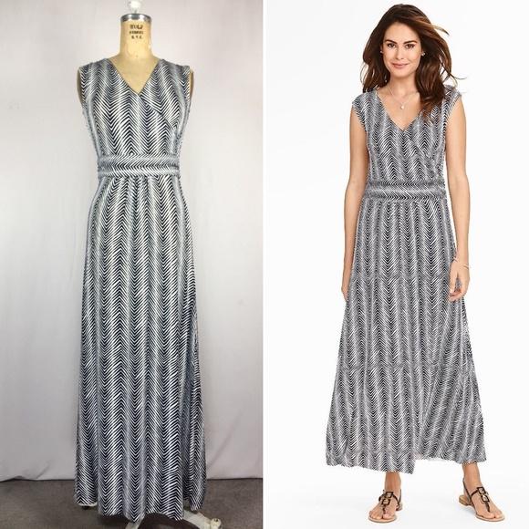 130f8d1d6c4 Navy Herringbone Print Jersey knit Maxi Dress PP. M 5b43a8979539f7debdc0be10